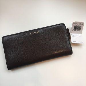Midnight Oak Leather Coach Wallet